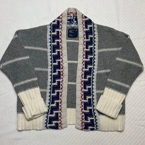Chunky Open Front Cardigan Aztec Trim Gray